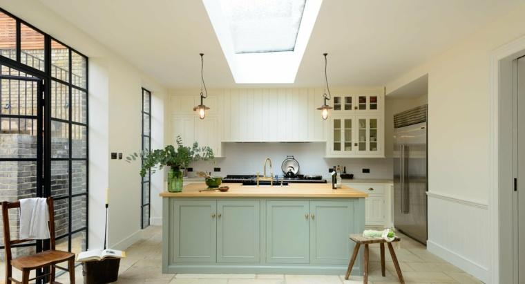 cocina diseno opciones modernas isla madera color verde ideas