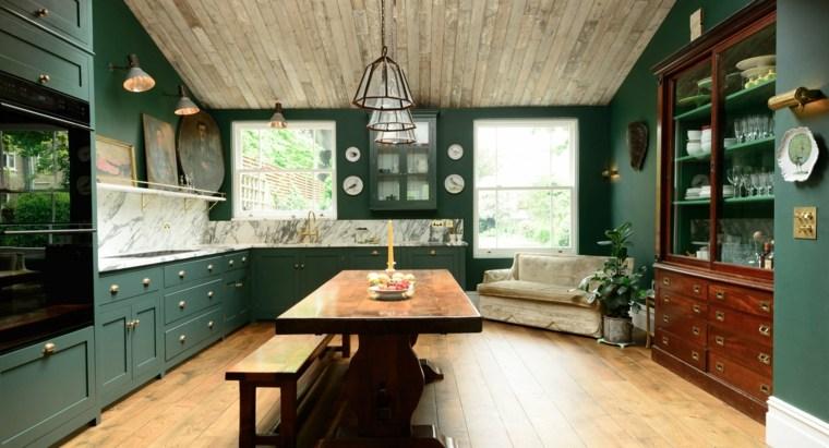 cocina familiar diseno opciones modernas muebles color verde ideas