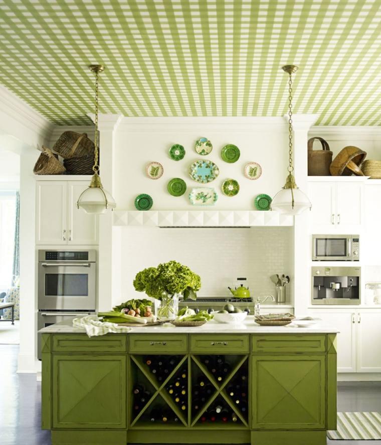 cocina familiar diseno opciones modernas toques color verde ideas