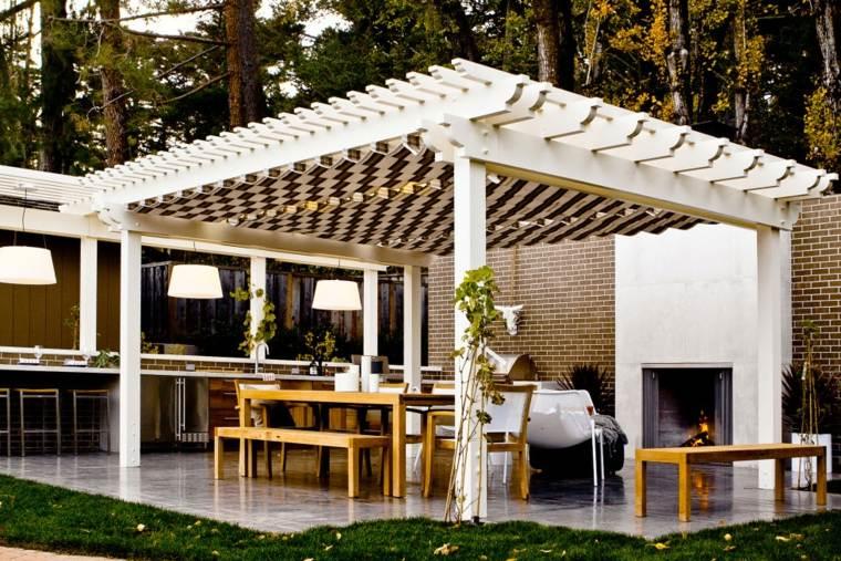 cocinas de diseño blancas jardín