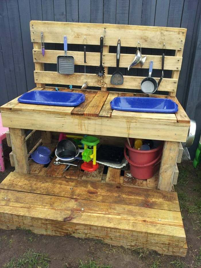 cocinas de juguete ninos lavabos palets ideas