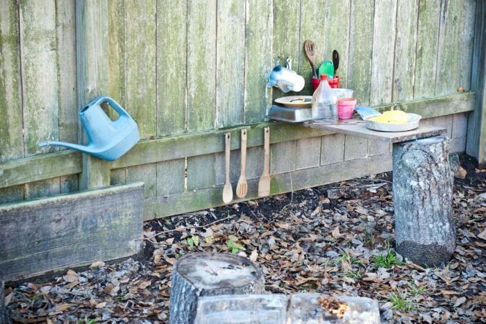 cocinas juguete ninos tronco madera jardin ideas