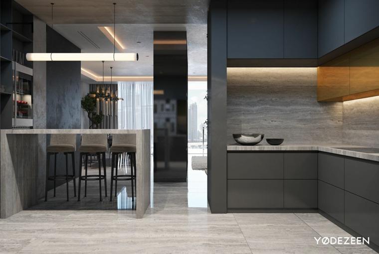 cocinas muestras cemento texturas calidos