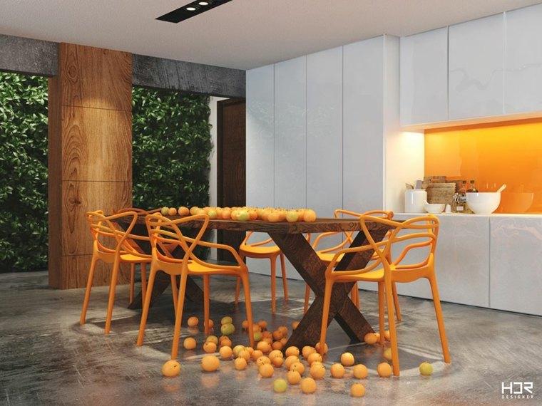 comedor color naranja hdr designer