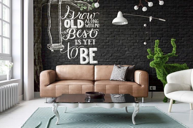 como decorar un salon negro verdes