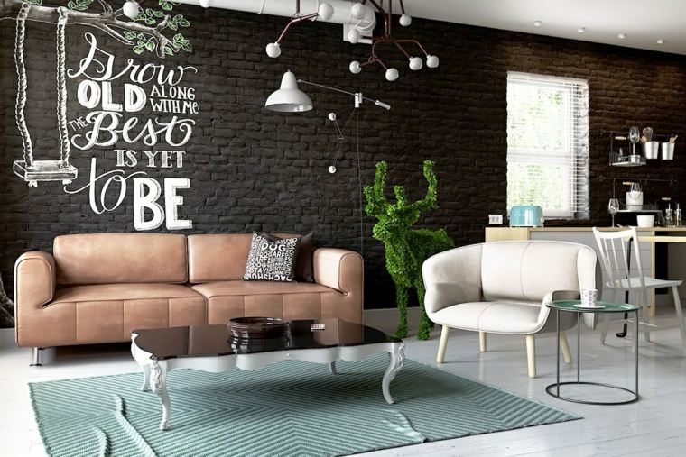 como decorar un salon tendencias cuero blanco