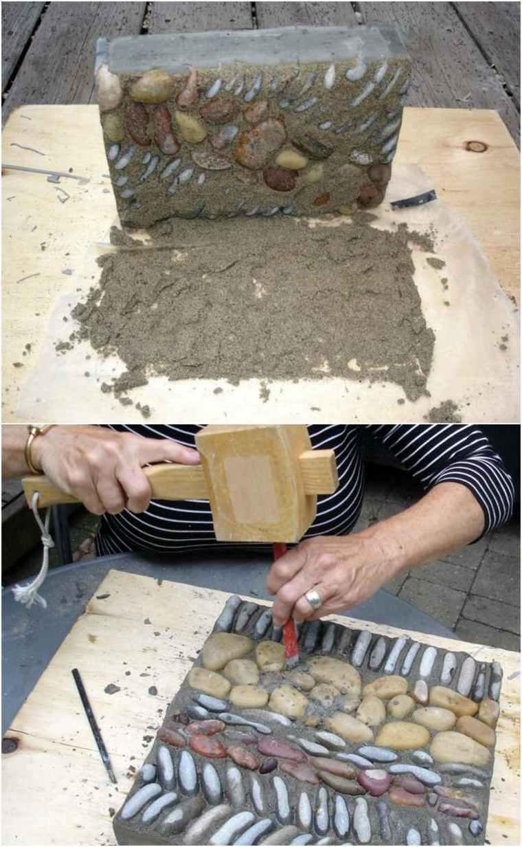como hacer baldosa mosaico piedras