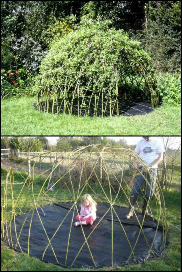 como hacer casita salvaje ramas