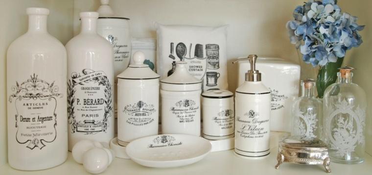 conjunto tarros baño estilo vintage