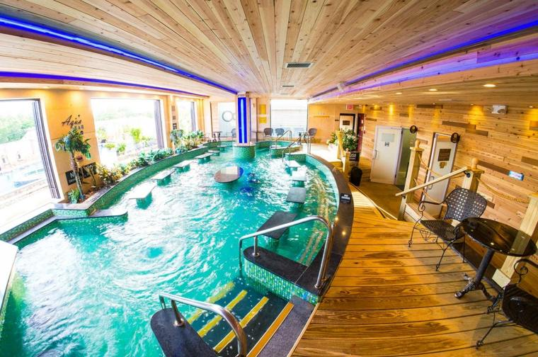 construccion de piscinas dentro casa disenos forma ovalada ideas