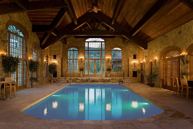 construccion piscinas dentro casa disenos rustico ideas