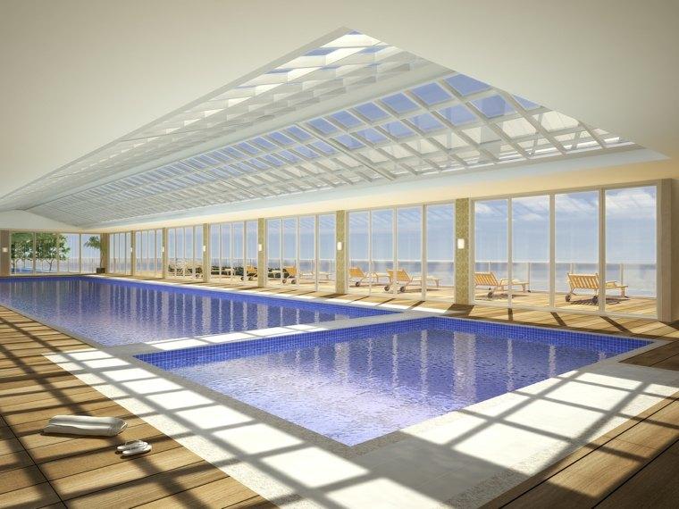 construccion piscinas dentro casa disenos techo cristal ideas