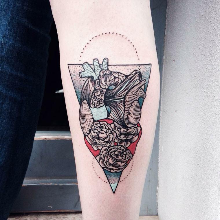 corazon triangulo tres rosas
