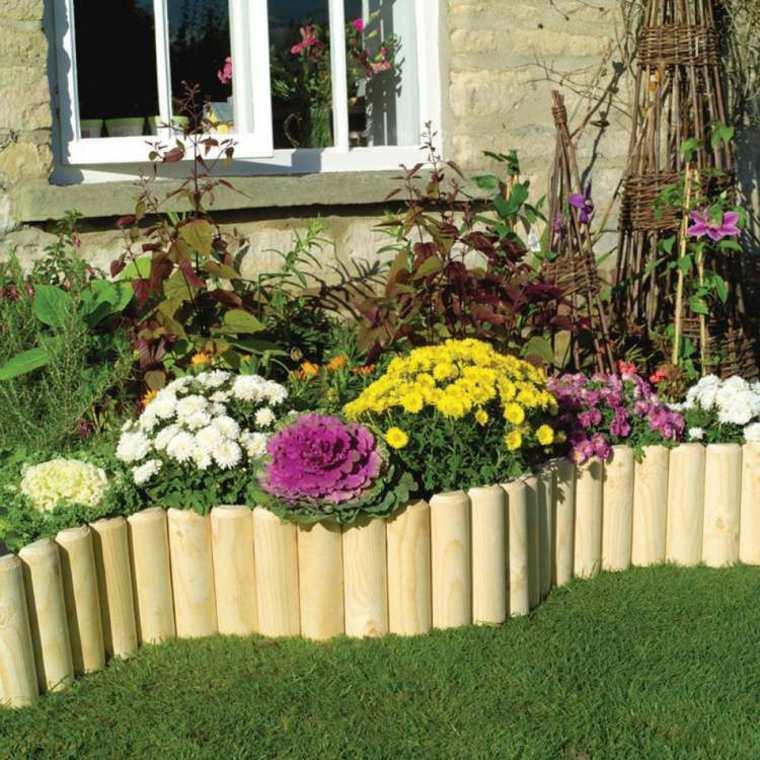 crisantemos flores jardin frontera madera ideas