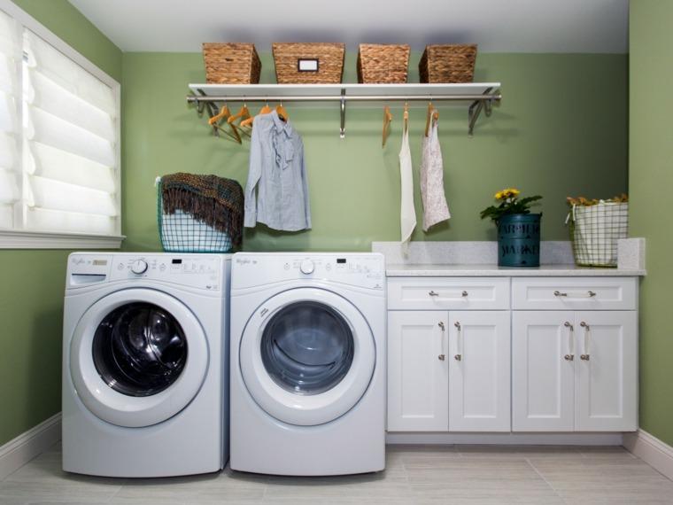 cuarto de lavadora verde