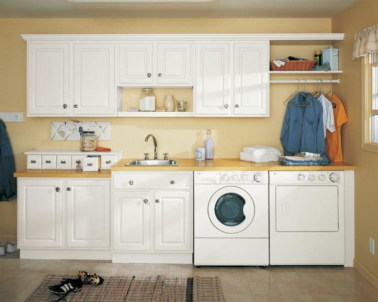 cuarto lavado pared color ocre