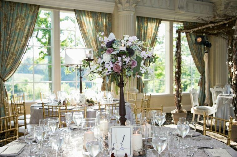 decoracion boda vintage centro mesa alto ramos flores ideas