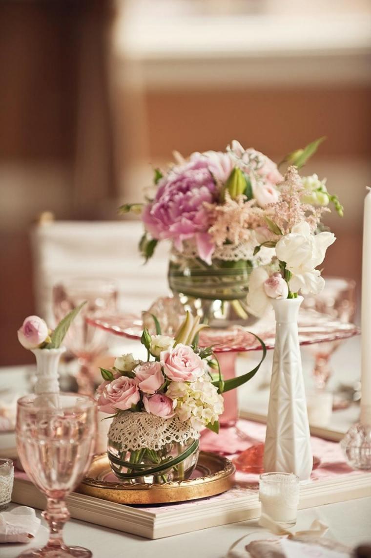 decoracion boda vintage opciones centro cristal jarrones flores ideas