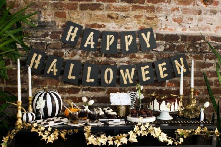 decoracion halloween carteles colores mesas