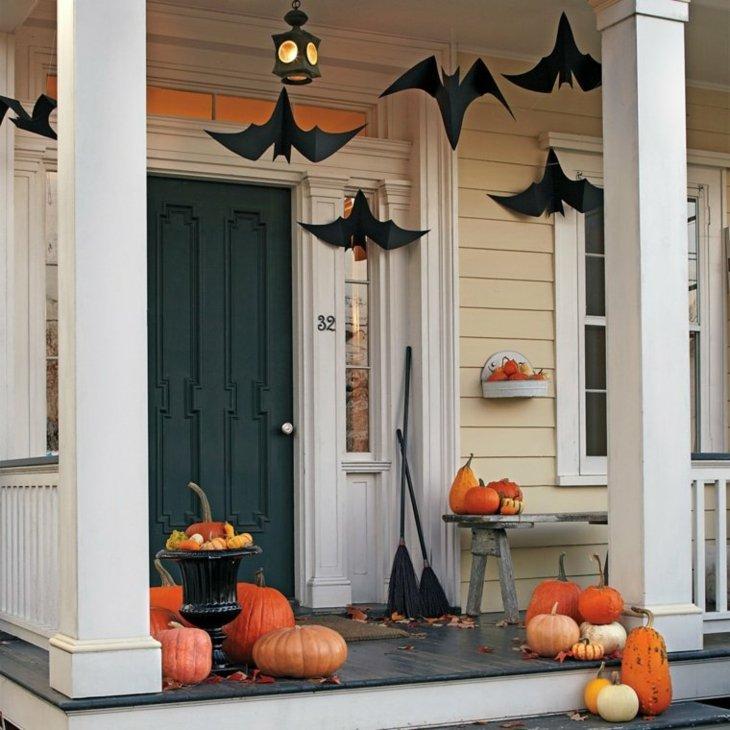 decoracion halloween entrada calabazas muestras