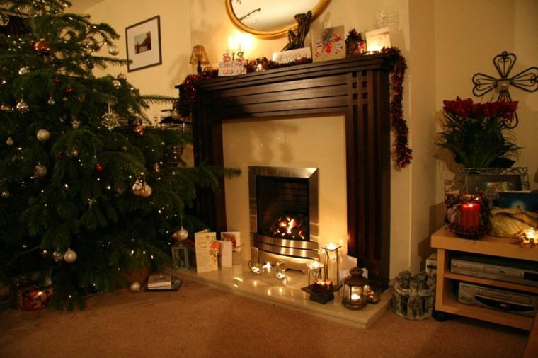 decoración navideña casera chimenea