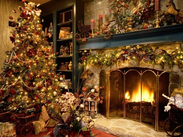 decoración navideña chimenea