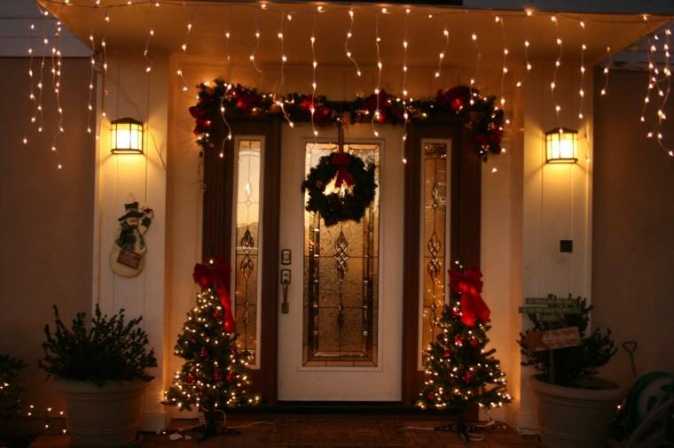 decoración navideña luces puerta