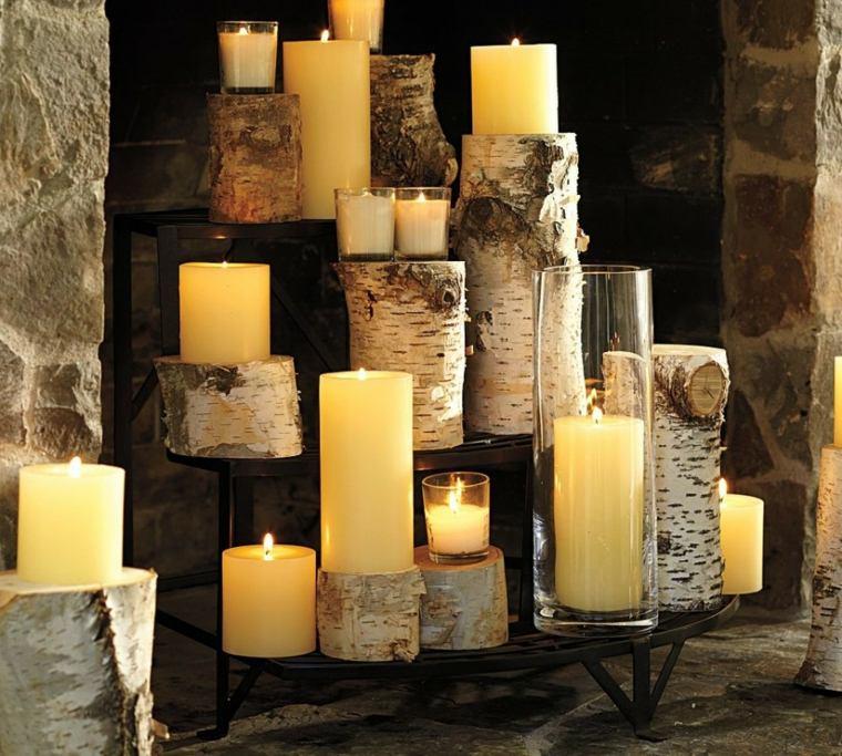 decorar con velas madera