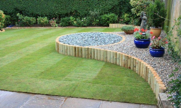 decorar jardin piedras frontera trozos madera ideas