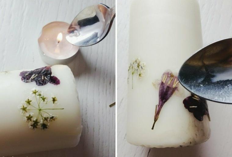 decorar velas varias flores cuchara