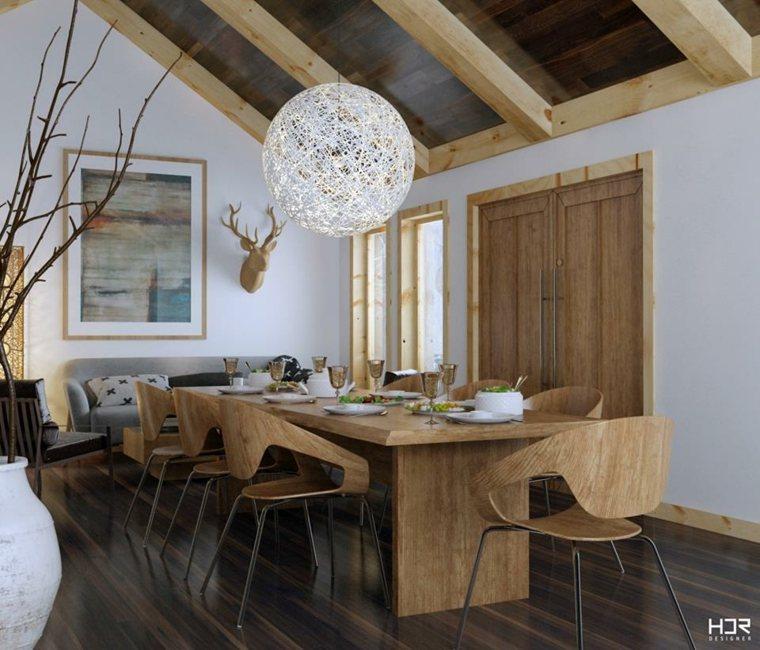 diseño comedor elementos madera HDR Designer