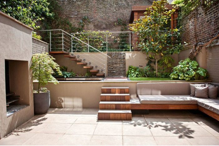 Dise o multinivel de patios y jardines con detalles for Disenos de jardines y patios