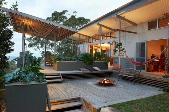 diseño multinivel espacio calido paredes fuego