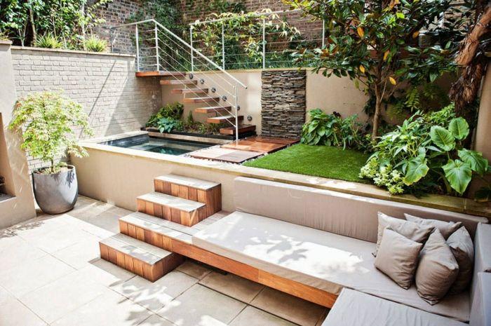 Diseño multinivel de patios y jardines con detalles inspiradores