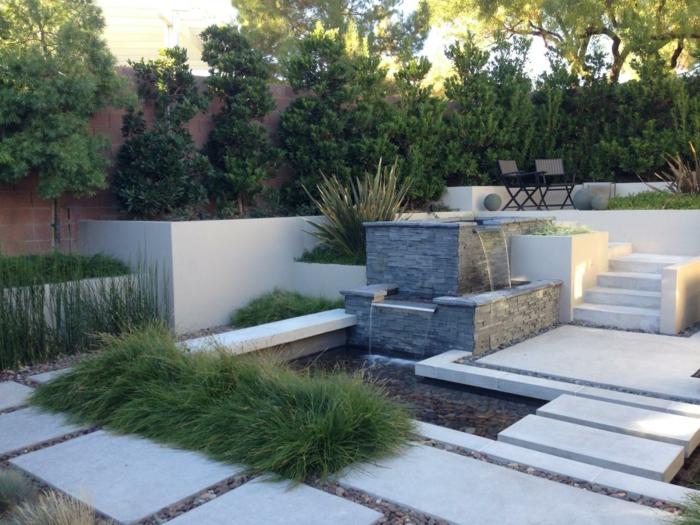 diseño multinivel senderos hierbas sillones