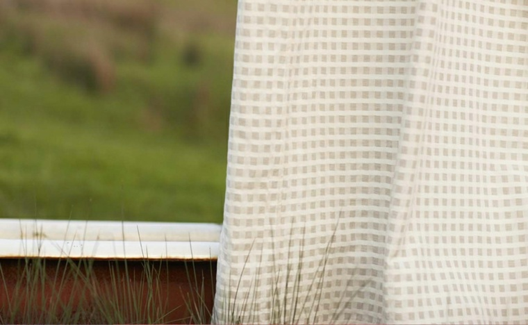 cortina cuadros algodon natural