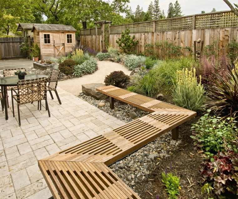 diseno jardin moderno banco valla caseta madera ideas