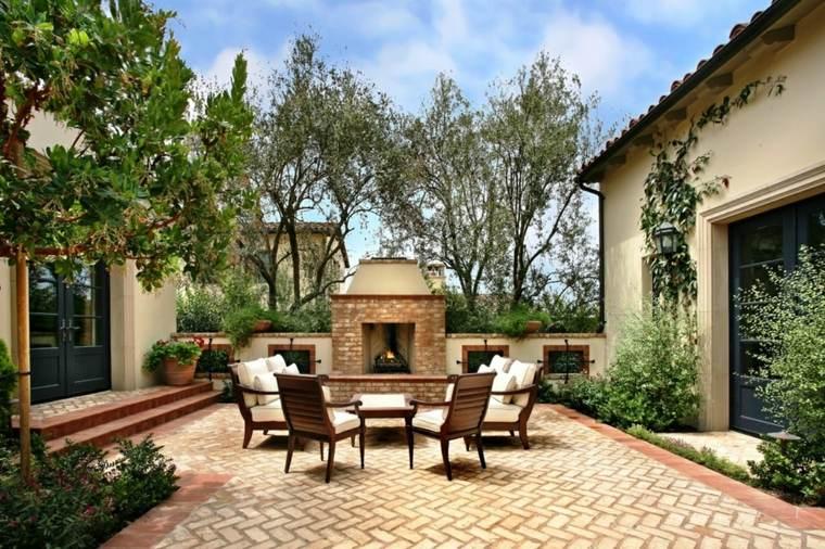 diseno jardin moderno chimenea estilo mediterraneo ideas