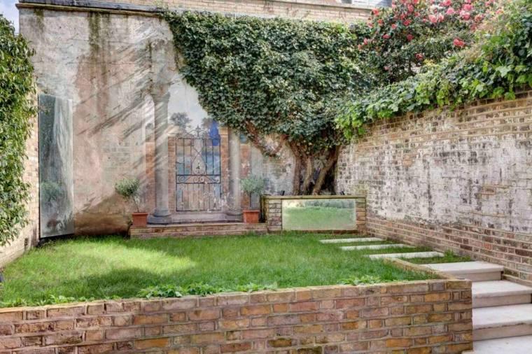 diseno jardin moderno diseno estilo retro valla ladrillo ideas