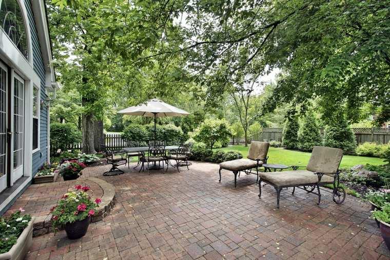 diseno jardin moderno muebles acero estilo clasico ideas