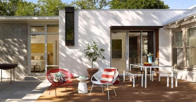 diseno jardin moderno suelo madera muebles blancos ideas
