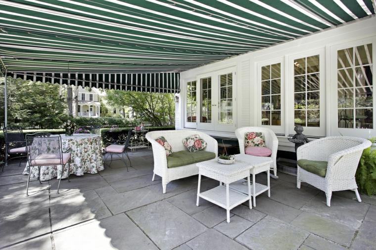 diseno jardin moderno toldo grande muebles blancos ideas