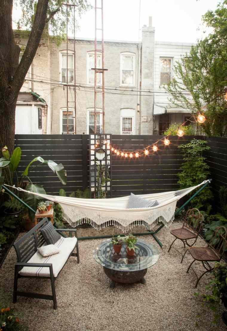 diseno jardin moderno urbano pequeno hamaca ideas