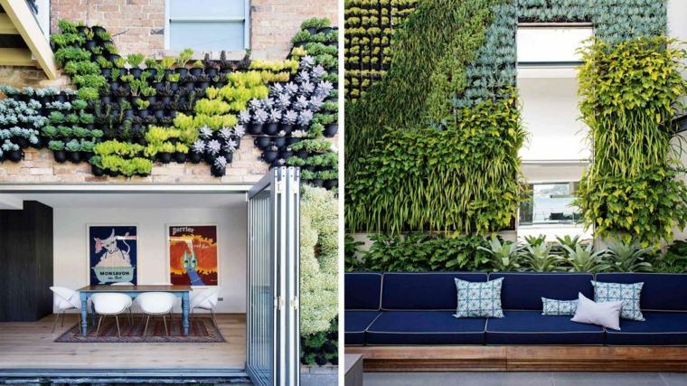 Paredes y vallas con jardines verticales for Decoracion con plantas para exteriores