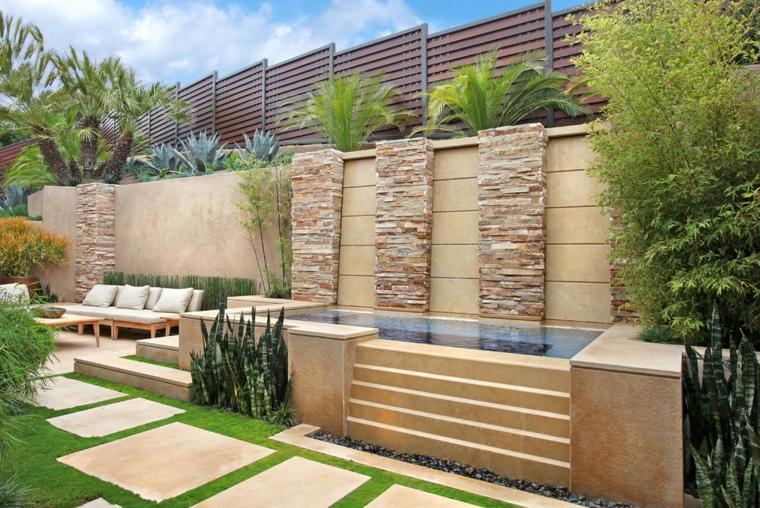 diseno jardín fuente cascada moderna