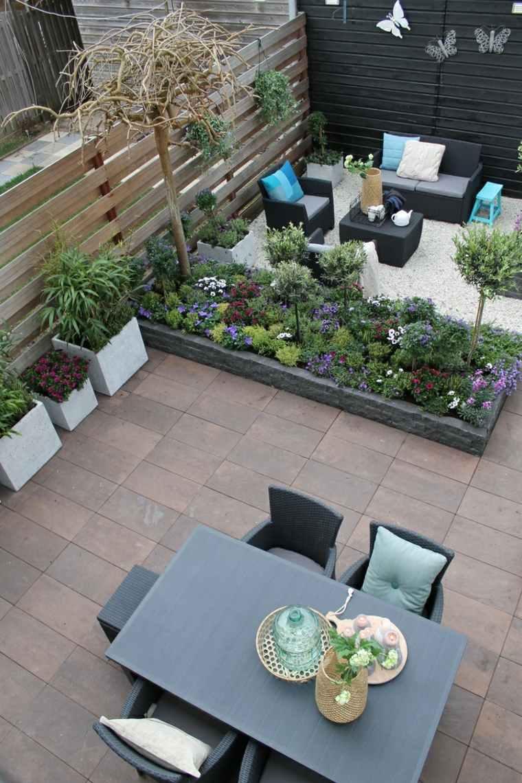 disenos jardines modernos dos niveles dos espacios ideas