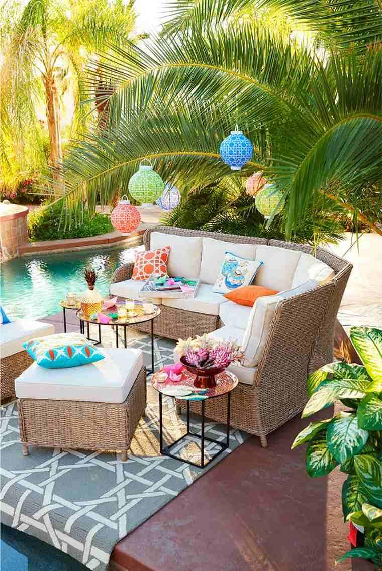 disenos jardines modernos estilo tropical colorido ideas