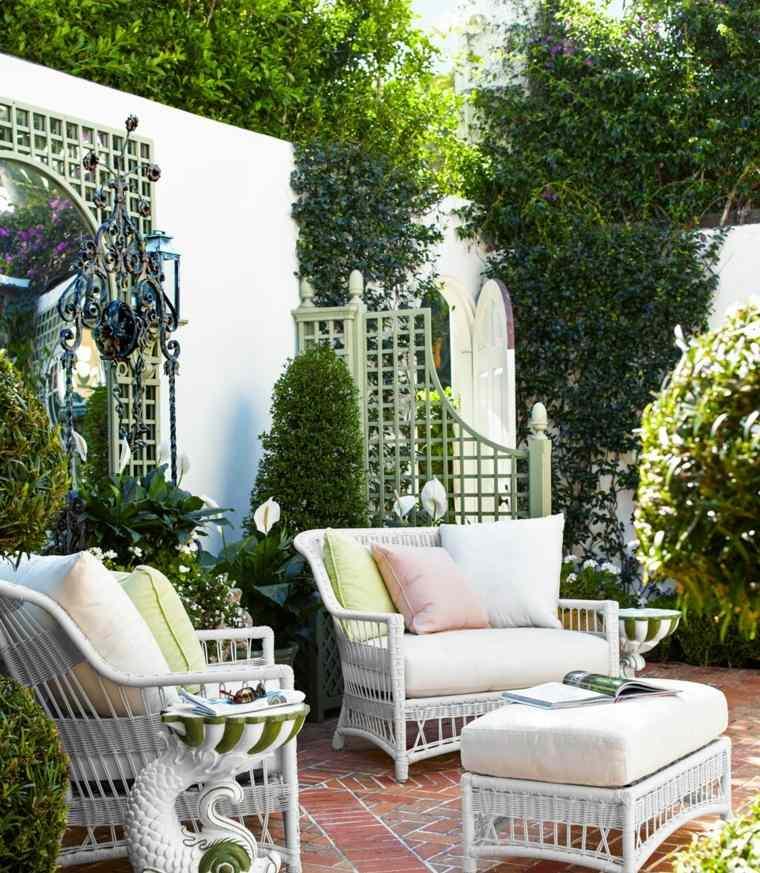 disenos jardines modernos muebles blancos plantas ideas