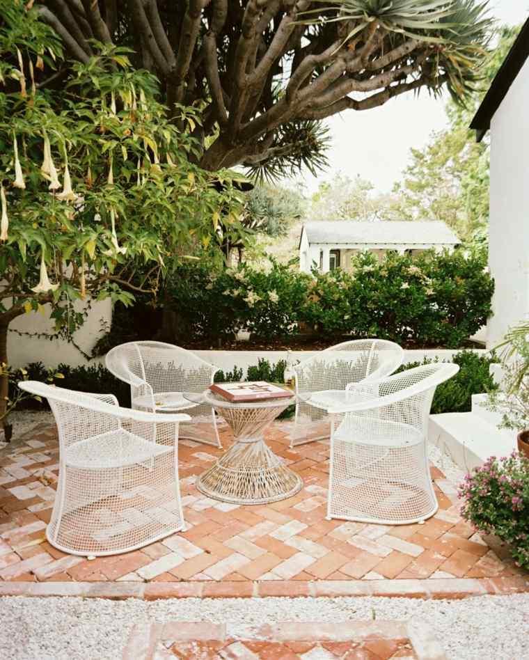 disenos jardines modernos muebles originales blanco ideas