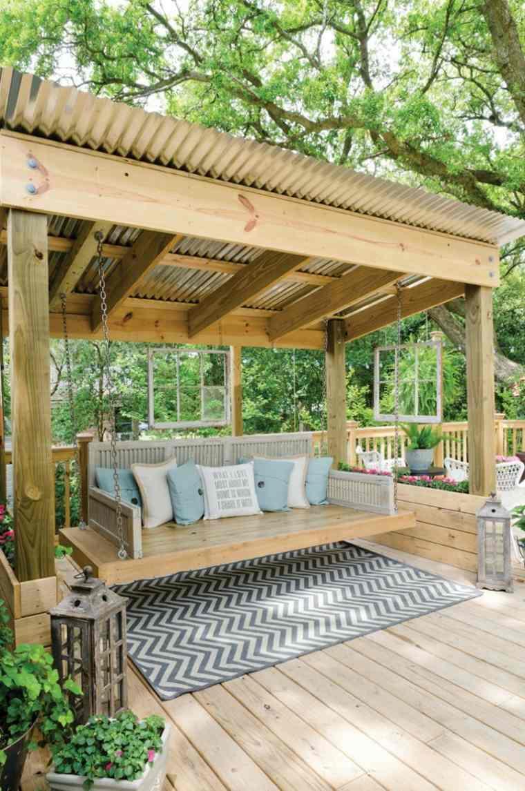 disenos jardines modernos pergola madera columpio ideas